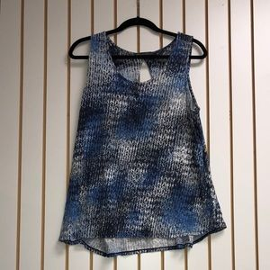 Blue and Grey Pattern Tank Top